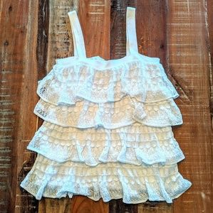 Anthropologie Moth White Tiered Lace Tank Size S